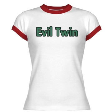 Evil Twin for Halloween Junior Fit Bella 1x1 Rib Ringer Tee