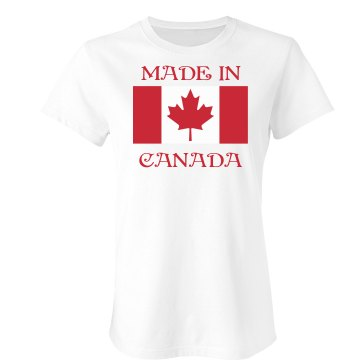 Made In Canada T-shirt Junior Fit Bella Sheer Longer Length Rib Tee