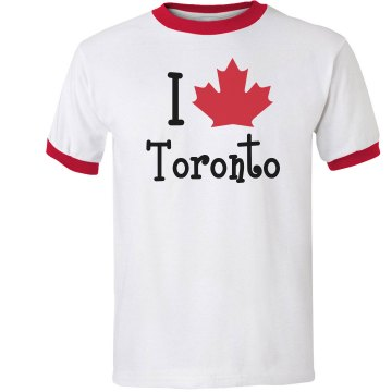 I Love Toronto Ringer Junior Fit Bella 1x1 Rib Ringer Tee