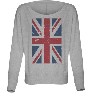 Union Jack Flag Top Misses Bella Flowy Lightweight Relaxed Dolman Tee