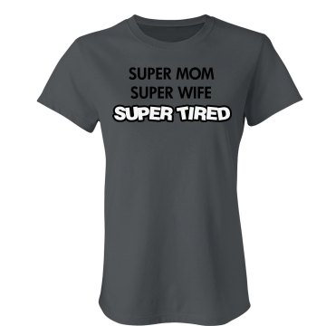Super Tired Junior Fit Bella Crewneck Jersey Tee