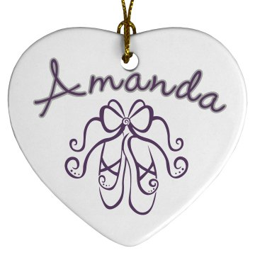Ballet Name Ornament Porcelain Heart Ornament