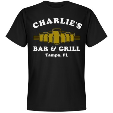 Charlie's Bar & Grill Unisex Gildan Heavy Cotton Crew Neck Tee
