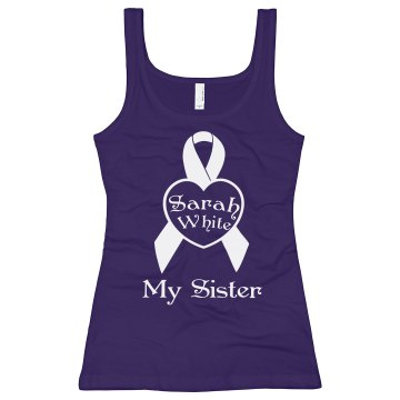 Alzheimers My Sister Junior Fit Bella Longer Length 1x1 Rib Tank Top
