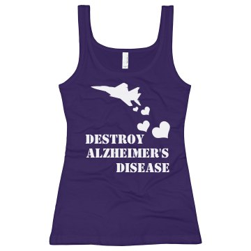 Destroy Alzheimer's Junior Fit Bella Longer Length 1x1 Rib Tank Top