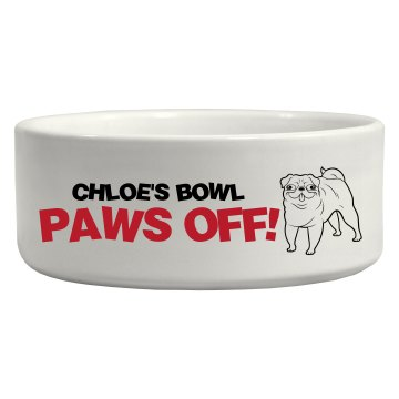 Paws Off! Ceramic Pet Bowl