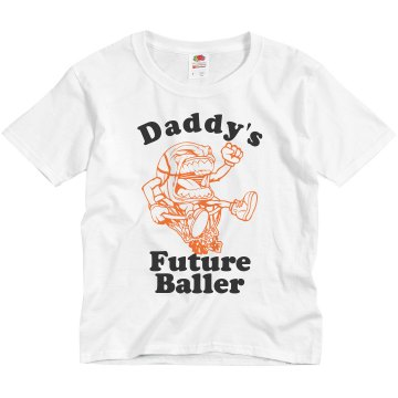 Daddy's Baller Youth Bella Girl 1x1 Rib Cap Sleeve Tee