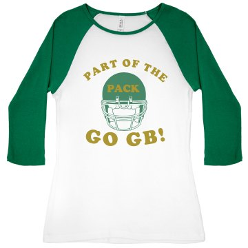 Football Pack Fan Junior Fit Bella 1x1 Rib 3/4 Sleeve Raglan Tee