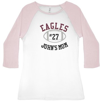 John&#x27;s Mom Junior Fit Bella 1x1 Rib 3&#x2F;4 Sleeve Raglan Tee