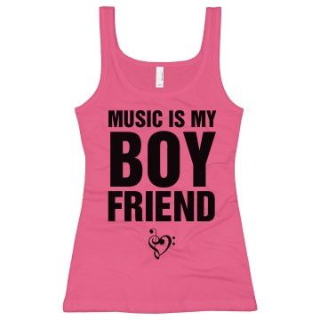Music Is My Boyfriend Junior Fit Bella Sheer Longer Length Rib Tank Top