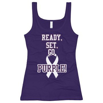 Alzheimers Ready, Set, Go Junior Fit Bella Longer Length 1x1 Rib Tank Top