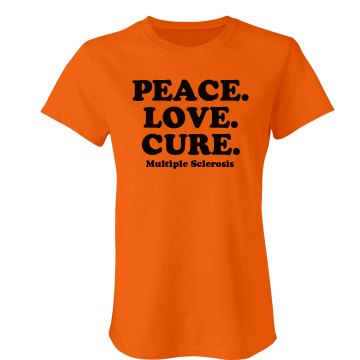 Peace. Love. MS Cure Junior Fit Bella Crewneck Jersey Tee