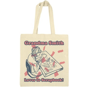 Grandma Loves Scrapbook Liberty Bags Canvas Bargain Tote Bag