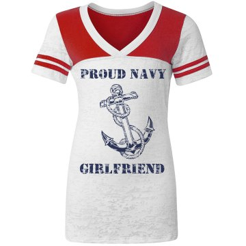 Proud Navy Girlfriend Junior Fit Augusta 3/4 Legacy Raglan Tee