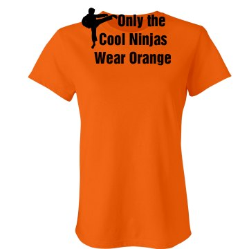 Cool Ninjas Wear Orange Junior Fit Bella Crewneck Jersey Tee