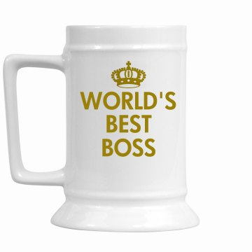 World's Best Boss 28oz Gold Trim Ceramic Stein
