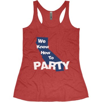 We know how to party Junior Fit Bella Sheer Longer Length Rib Tank Top