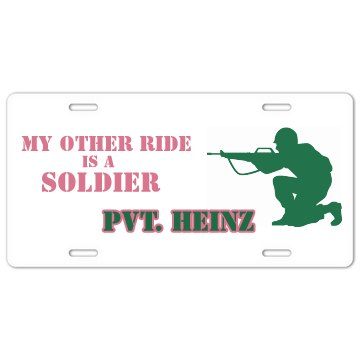 Other Ride Is A Soldier License Plate