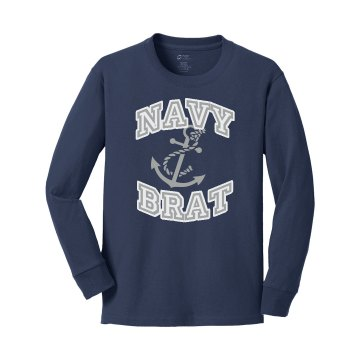 Navy Brat Shirt Youth Gildan Ultra Cotton Long Sleeve Tee