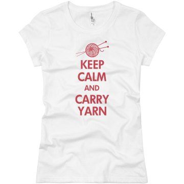 Keep Calm Carry Yarn Junior Fit Basic Bella Favorite Tee