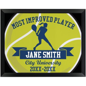 Tennis Player Plaque Round Wood Plaque