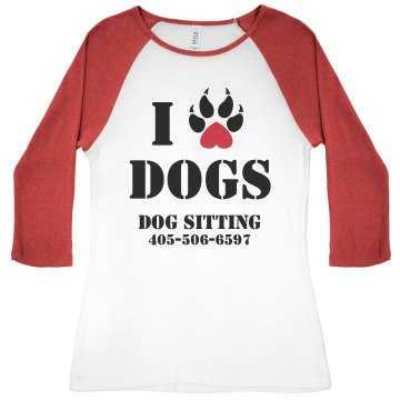 I Heart Dogs Junior Fit Bella 1x1 Rib 3/4 Sleeve Raglan Tee