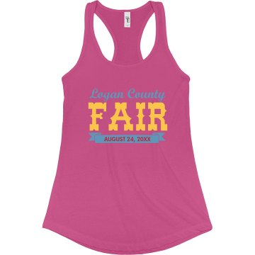 County Fair Tank Junior Fit Bella Sheer Longer Length Rib Racerback Tank Top