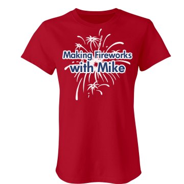 Making 4th Fireworks Junior Fit Bella Crewneck Jersey Tee