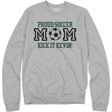 Proud Soccer Mom of Kevin Junior Fit Bella 1x1 Rib Ringer Tee