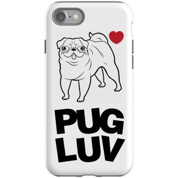 Pug Love Case Rubber iPhone 4 & 4S Case Black