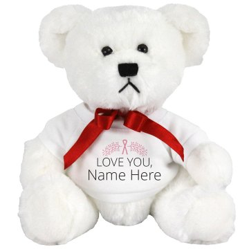 Breast Cancer Bear Hug Plush Baby Shower Teddy Bear