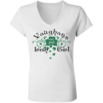 St Patrick's Irish Girl Junior Fit Bella Sheer Longer Length Rib V-Neck Tee