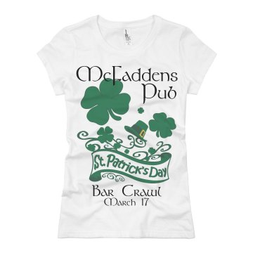 St Patty's Bar Crawl Misses Relaxed Fit Basic Gildan Heavy Cotton Tee