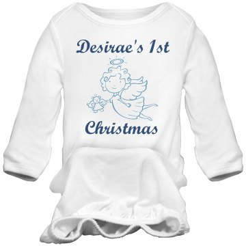 Desirae&#x27;s 1st Christmas Infant Bella Baby 1x1 Rib Long Sleeve Sleeper