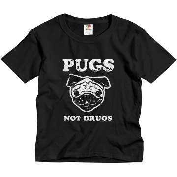 Pugs Not Drugs Misses Relaxed Fit Anvil V-Neck Tee