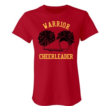 Warrior Cheer w&#x2F;Back Junior Fit Bella Crewneck Jersey Tee