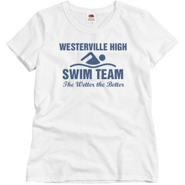Wetter Better Swim Team Junior Fit Brightline 3/4 Sleeve Jersey Tee