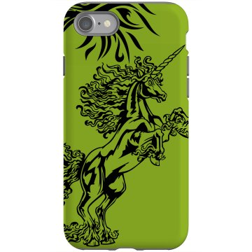 Unicorn With Flowing Hair Rubber iPhone 4 & 4S Case Black