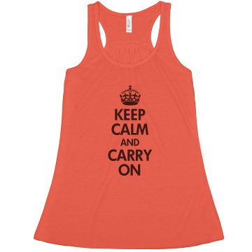 Keep Calm &amp; Carry On Misses Bella Flowy Lightweight Tank