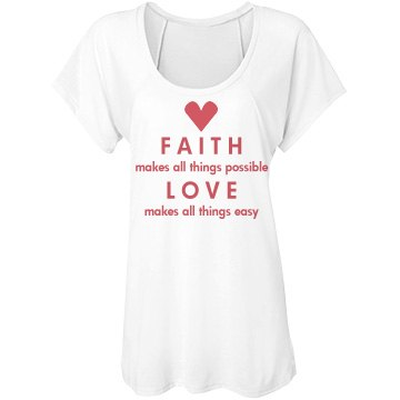 Faith And Love Tee Bella Flowy Lightweight Raglan Tee
