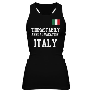 Family Vacation in Europe Junior Fit Bella Sheer Longer Length Rib Racerback Tank Top
