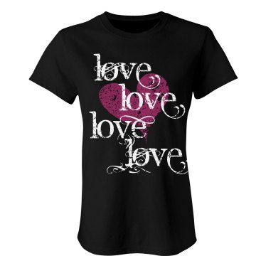 Love Hearts Text Tee Junior Fit Bella Sheer Longer Length Rib Tee