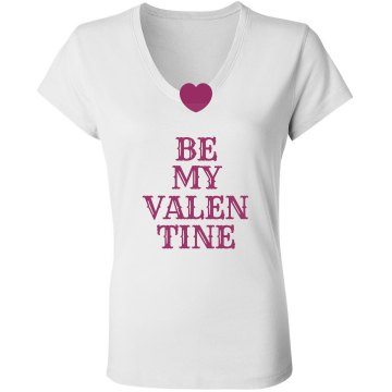 Be My Valentine Heart Junior Fit Bella Sheer Longer Length Rib V-Neck Tee