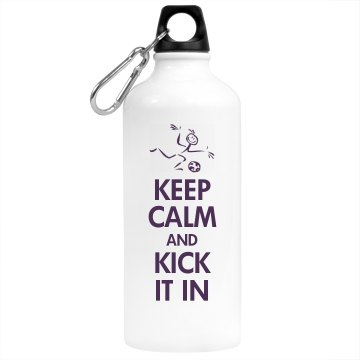 Keep Calm Soccer Kick Aluminum Water Bottle