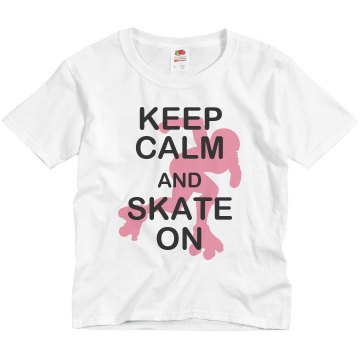 Keep Calm Skate On Youth Bella Girl Sheer 2-in-1 Baby Jersey Tee