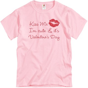 Kiss Me Valentine Unisex Basic Gildan Heavy Cotton Crew Neck Tee