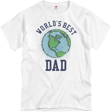 World's Best Dad Earth Unisex Basic Gildan Heavy Cotton Crew Neck Tee