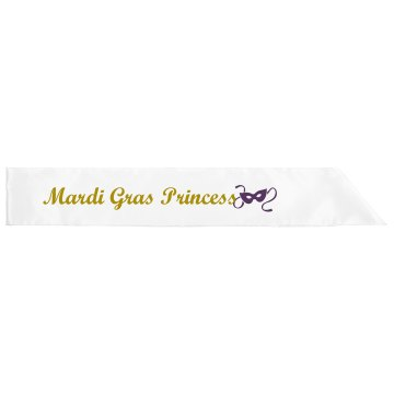 Mardi Gras Princess Adult Satin Party Sash