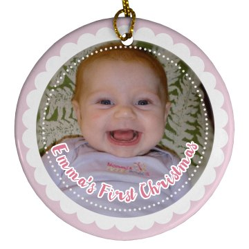 1st Christmas Ornament Porcelain Circle Ornament
