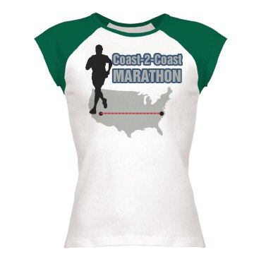 Marathon Run Tee w/ Back Junior Fit Bella 1x1 Rib Ringer Tee